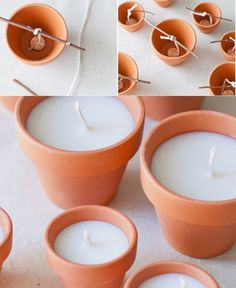 diy terracotta votives diy terracotta votive candles Add a beautiful glow to an outdoor area with these charming DIY terracotta votives! They make beautiful gifts too! and you can decorate the pot to personalize the gift Tip from Daw I add 1 or 2 drops Cute Candles, Mini Candles, Votive Candles, Ideas Candles, Diy Candle Ideas, Diy Candles To Sell, Mason Jar Candles, Candle Centerpieces, Clay Pot Projects