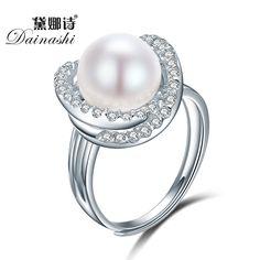 Dainashi Fina Cruz Anillos Redondos Para Las Mujeres 925 Joyería de Plata Esterlina Natural White Pearl Joyería Ajustable Anillos 2016 Joyería