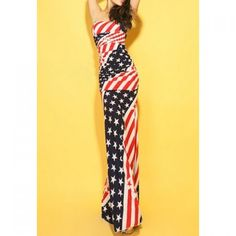 Wholesale Flag Print Color Block Skinny Sleeveless Sexy Style Low Cut Women's Maxi-Dress Only $11.53 Drop Shipping | TrendsGal.com