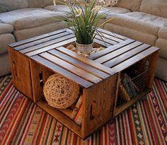 Unique Coffee Table, Rustic Coffee Tables, Diy Coffee Table, Coffee Table Design, Coffee Table With Storage, Diy Table, Creative Coffee, Wooden Crate Coffee Table, Pallette Coffee Table