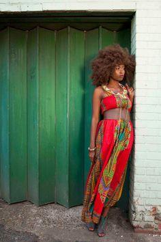African Dashiki-Print Maxi Dress