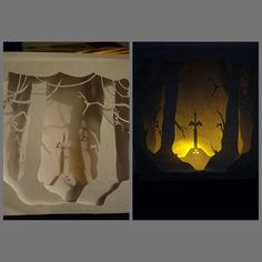 legend of zelda paper art, light box