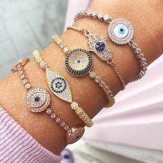 evil eye bracelets-Creative handmade accessories – Just Trendy Girls Trendy Accessories, Handmade Accessories, Jewelry Accessories, Cheap Jewelry, Gold Jewelry, Jewelery, Evil Eye Jewelry, Evil Eye Bracelet, Arm Candy Bracelets