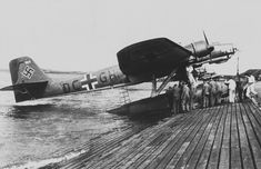 Launching of the German Heinkel seaplane in the test center Travemünde Ww2 Aircraft, Military Aircraft, Luftwaffe, Flying Boat, Ww2 Planes, World War Two, Wwii, Aviation, History