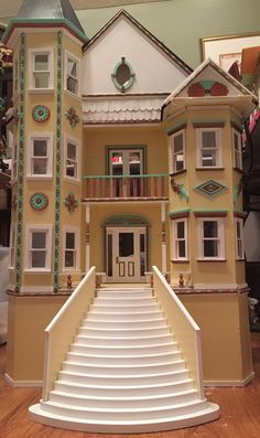 Jocelyn's Mountfield Dollhouse: Finished Exterior of the Frankenstein House a.k.a Painted Lady Dollhouse