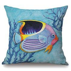 Stylish Tropical Fish Plant Embellished Square Shape Pillowcase