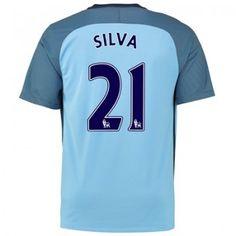 Manchester City 16-17 David Silva 21 Hemmatröja Kortärmad  #Fotbollströjor