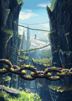 I am enjoying Sylar113's (of deviantART) colour schemes in his landscapes. I think this one is my favourite :) The red tulips on the chains are the finishing touch.
