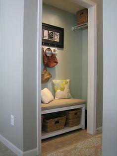 Coat closet turned mud room - I like it!
