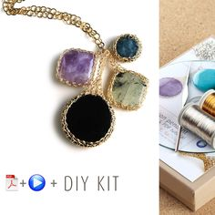 A unique jewelry making kit in Yoola's wire crochet invisible spool knitting technique. with the kit you will learn how to wire crochet around a stone to create a unique looking pendant necklace. Crystal Jewelry, Wire Jewelry, Jewelery, Unique Jewelry, Wire Bracelets, Jewelry Tools, Spool Knitting, Boho Necklace, Pendant Necklace