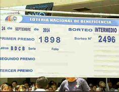 Resultados Lotería Nacional de Panamá miércoles 24 de Septiembre 2014. Primer Premio: 1898-Letras: BDCB-Serie: 11 y Folio: 7 Detalles completo ver el Blog…..