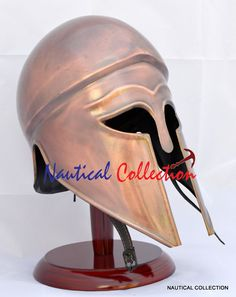 Medieval Replica Corinthian Helmet with wooden stand by StreampunkGifts on Etsy