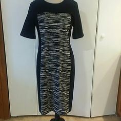 Black Zebra DKNY dress. This black zebra pattern dress is very slimming.  Zippers midway down back. DKNY Dresses Maxi