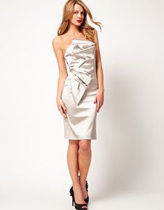 Karen Millen Strapless Satin Pleat Dress, €172,91 #sisterMAG #Products