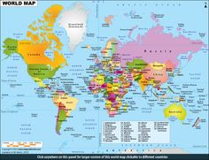 World map clickable to the all countries map of the world from Maps of World