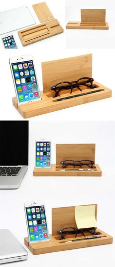 Bamboo Wooden Stationery Office Desk Organizer Glasses Sunglasses Eyeglass Holder Clipboard Document Holder Phone Stand Holder Pen Holder Paper Clip Holder Collection