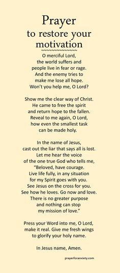 Prayer to restore your motivation
