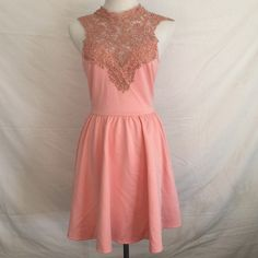 Shimmery Pink Lace Dress Pink dress with gorgeous shimmery lace neck detailing. V-back with tie around nape. 🌸Open to all reasonable offers!🌸Discounted bundles🌸No trades🌸 Dresses