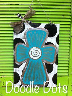 Cross Door Hanger by DoOdLeDotsAnDmOre on Etsy, $30.00