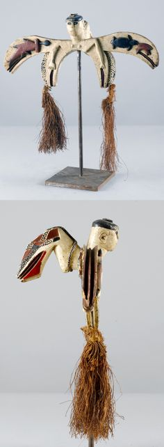 Africa | Dance crest from the Bidyogo people of Guinea Bissau | Wood, pigment, natural fiber