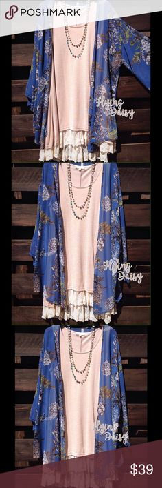 Plus Size Floral Kimono Cardigan 1x 2x 3x Made USA Long and flowy floral print cardigan with kimono style sleeves. Semi-sheer lightweight polyester fabric. Made in the USA. Sleeveless lace tunic underneath sold separately in our store.   1X - 12-14  2X - 16-18  3X - 20-22 Flying Daisy Tops Tunics