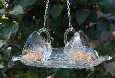 Vintage Punch Cups Hanging Bird Feeder Glass by ARTfulSalvage, $26.00