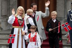 Crown Prince Haakon and Crown Princess Mette-Marit of Norway with their children Prince Sverre Magnus and Princess Ingrid Alexandra; and the Crown Princess' son Marius Borg Hoiby