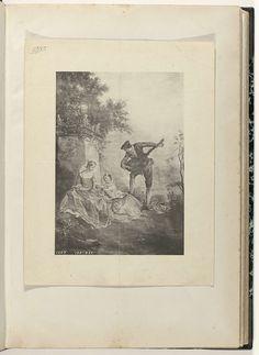Anonymous | Twee zittende vrouwen en een man spelend op een luit, Anonymous, c. 1866 - c. 1900 | Linksonder staat: 1207. 155: 230.