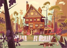 I love the cartoony stylish art style created by the exaggerated shapes and colors