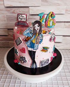 Cake Frosting Designs, 14th Birthday Cakes, Sugar Bread, Pan Bread, Girl Cakes, Sweet 16, Pop Art, Baking, Cami