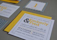 Modern Yellow And Grey Wedding Invitation And by MrsQdesignstudio