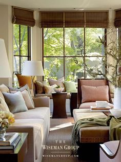 restful color mix from Wiseman Group Interior Architecture, Interior Design, Custom Sofa, Dining Room Walls, Cozy Corner, Beautiful Living Rooms, California Homes, Commercial Interiors, Home And Family
