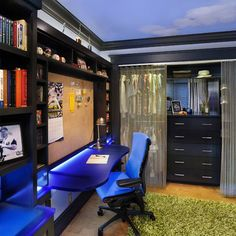 Teen Boy's Bedroom - contemporary - interesting idea for wall, built ins with desk