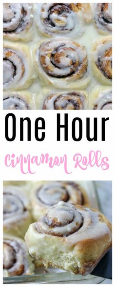 1 Hour Cinnamon Rolls - these quick and easy homemade cinnamon rolls from scratch use rapid rise instant yeast so they come together fast for breakfast or brunch (with cream cheese frosting) No Yeast Cinnamon Rolls, Overnight Cinnamon Rolls, Cinnamon Rolls From Scratch, 1 Hour Cinnamon Rolls Recipe, Cinnamon Roll Pancakes, Cinnamon Bread, Cinnamon Recipes, Baking Recipes, Dessert Recipes