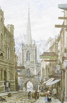 Peter's Church in 1924 Broad Street, Bristol Medieval Houses, Medieval Life, Urban Life, Beautiful Buildings, City Streets, Traditional Art, Old Town, Bristol, Great Places