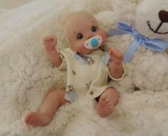 """Kevin"" mini 7.5"" polymer clay baby art doll sculpt OOAK by URSULA."