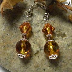 Swarovski and Czech Crystals in Topaz Earrings by marilyn1545, $15.00