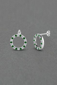 Dazzling Cirque Stud Earrings Gifts For Her with Green Emerald in 14K White Gold exclusively styled by Fascinating Diamonds