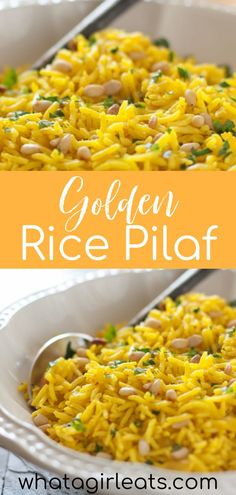 Easy golden rice pilaf is a vibrant, flavorful, Mediterranean side dish made with turmeric and toasted pine nuts. It will make any meal just a little bit tastier, and it's so easy to make! || What a Girl Eats Side Dishes Easy, Side Dish Recipes, Golden Rice, Loaded Sweet Potato, Roasted Cabbage, Vegetarian Recipes, Healthy Recipes, 30 Minute Meals, Fabulous Foods