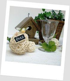 Décoration de table - Verdure : oiseau, trèfle, osier, nichoir