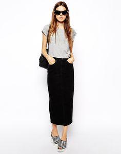 Long Black Straight Skirt