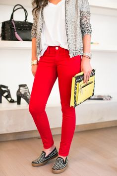A midweek pick-me-up: the Thompson Twill Midrise Skinny Jean in Red #RMDENIM