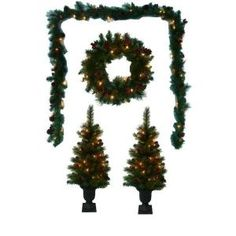 Artificial Entryway Tree Set with Wreath and Garland (4-Piece Set), B-132059 at The Home Depot - Mobile