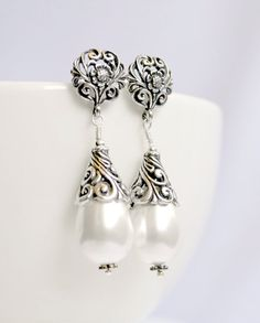 Pearl bridal earrings antique oxidized by BohemianPleasures, $48.00 *pretty even when you are not a bride :)