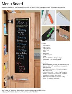 How to create your own kitchen menu board. Get the tutorial here. Customer Stories, Command Hooks, Utility Knife, Canvas Board, Chalkboard Paint, Pantry Organization, Tape Measure, Locker Storage, Menu