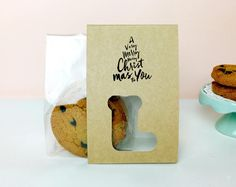 10 Christmas gift packaging sets Kraft bands with clear cookie bag,cookie favor packaging,wedding favor, gift packaging,baby shower,gift set