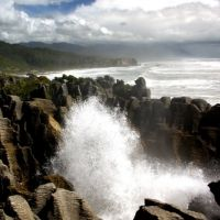 Punakaiki, New Zealand (pancake rocks and blowholes - the best time to visit is when the tide is coming in)