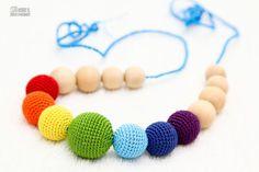 Teething Necklace Rainbow  Waldorf  toy crochet sling by MagazinIL, $28.00  #nursingnecklace #nursing #nursing necklace #breastfeeding
