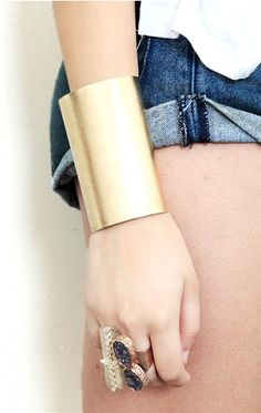 large gold cuff by Cintrine By The Stones