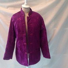 Vintage jacket Satin type material magenta color L.29. SL. 22 W. 40  with pockets Jackets & Coats